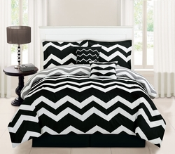 10 Piece Full Chevron Black Bed in a Bag Set