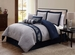 11 Piece King Belmar Navy and Gray Bed in a Bag w/500TC Cotton Sheet Set