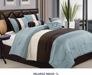 11 Piece King Blue Pleating Bed in a Bag Set
