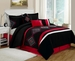 11 Piece King Carlsbad Black and Red Bed in a Bag w/600TC Cotton Sheet Set