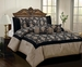 11 Piece King Celina Taupe and Black Bed in a Bag w/600TC Cotton Sheet Set