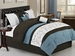11 Piece King Chocolate/Blue/Ivory Embroidered Bed in a Bag Set