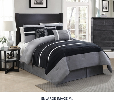 11 Piece King City Loft Black and Gray Micro Suede  Bed in a Bag Set
