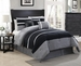 11 Piece King City Loft Black and Gray Micro Suede  Bed in a Bag w/600TC Cotton Sheet Set