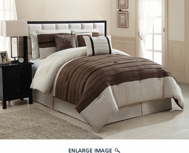 11 Piece King City Loft Brown and Beige Micro Suede  Bed in a Bag Set