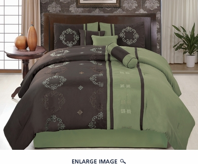 11 Piece King Coffee and Sage Floral Embroidered Bed in a Bag Set