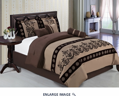 11 Piece King Coffee Medallion Embroidered Bed in a Bag Set