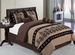 11 Piece King Coffee Medallion Embroidered Bed in a Bag  w/500TC Sheet Set