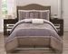 11 Piece King Katie Lavender and Taupe Bed in a Bag w/500TC Cotton Sheet Set
