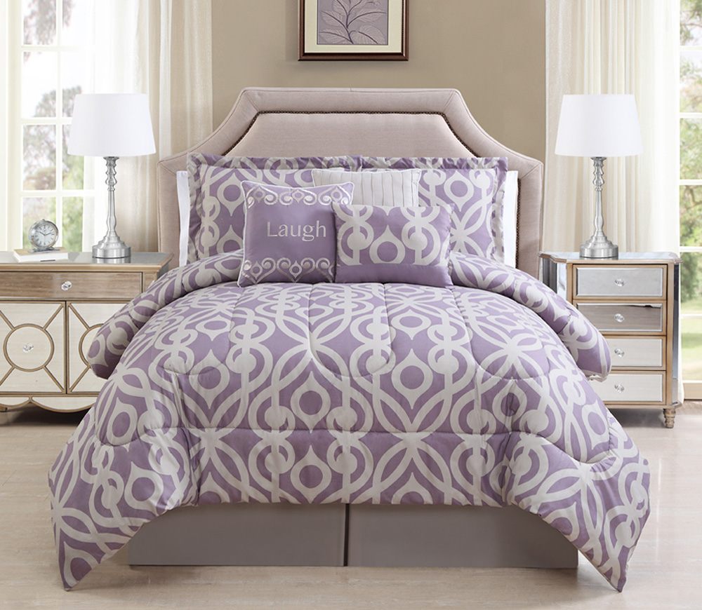 11 Piece Laugh Lavender Taupe Bed In A Bag Set