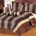11 Piece King Leopard Stripe Micro Fur Bed in a Bag Set