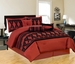 11 Piece King Maryland Burgundy and Black Bed in a Bag w/600TC Cotton Sheet Set