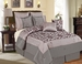 12 Piece King Megellan Gray and Purple Bed in a Bag w/600TC Cotton Sheet Set