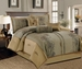 11 Piece King Peyton Olive and Gold Bed in a Bag w/600TC Cotton Sheet Set