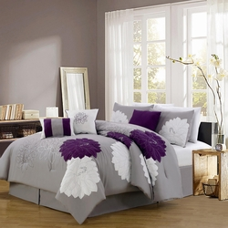11 Piece King Provence Embroidered Bed in a Bag w/600TC Cotton Sheet Set