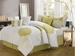 11 Piece King Provence Yellow Embroidered Bed in a Bag w/500TC Cotton Sheet Set