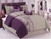 11 Piece King Purple and Gray Embroidered Bed in a Bag w/500TC Sheet Set