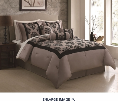 11 Piece King Richmond Flocking Black/Taupe Bed in a Bag Set