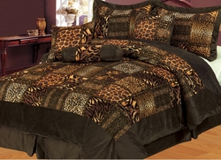 11 Piece King Safari Brown Patchwork Micro Suede Bed in a Bag Set