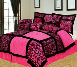 11 Piece King Safari Pink and Black Patchwork Micro Suede Bed in a Bag Set