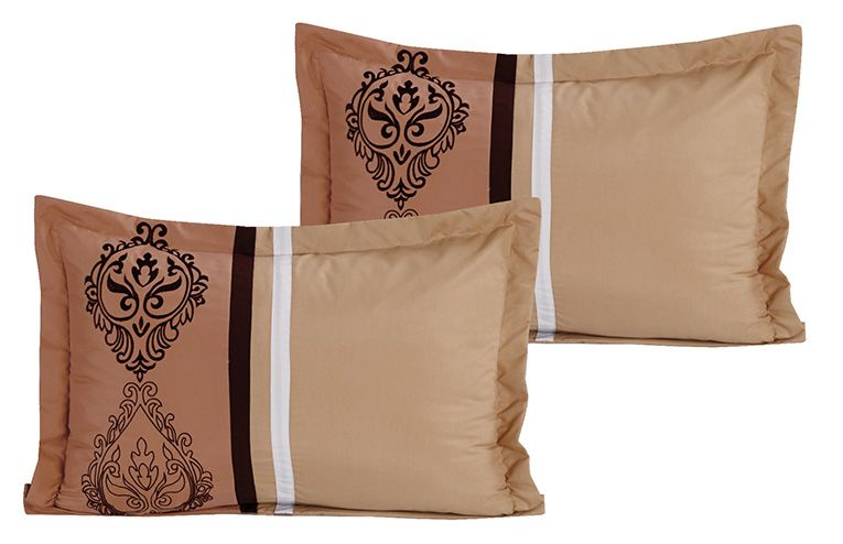 Piece medallion embroidered embossed taupe clay comforter set queen