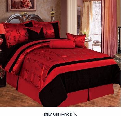 11 Piece Queen Asian Happiness Bedding Bed in a Bag w/500TC Cotton Sheet Set Red/Black