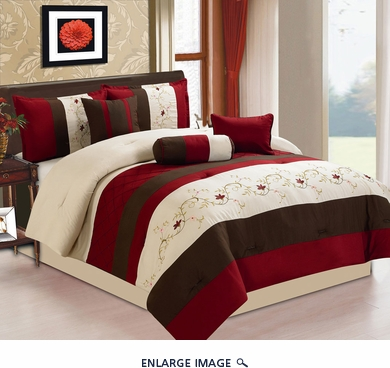 11 Piece Queen Baylee Floral Embroidered Bed in a Bag Set