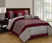 11 Piece Queen Bradley Flocked Burgundy and Taupe Bed in a Bag w/600TC Sheet Set