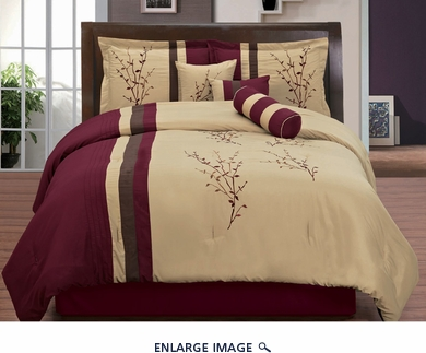 11 Piece Queen Burgundy and Tan Floral Embroidered Bed in a Bag Set