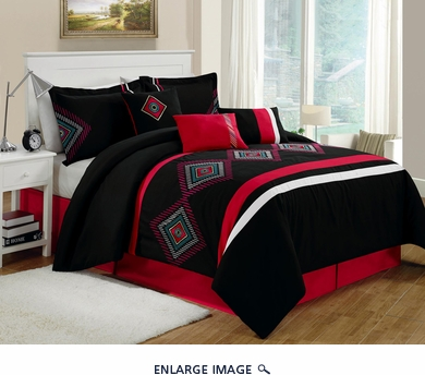 11 Piece Queen Carlsbad Black and Red Bed in a Bag w/600TC Cotton Sheet Set