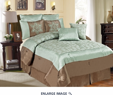 12 Piece Queen Castex Aqua and Coffee Bed in a Bag w/500TC Cotton Sheet Set