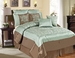 12 Piece Queen Castex Aqua and Coffee Bed in a Bag w/600TC Cotton Sheet Set