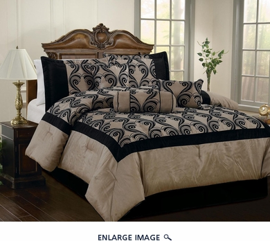 11 Piece Queen Celina Taupe and Black Bed in a Bag w/600TC Cotton Sheet Set