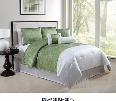11 Piece Queen Claire Lime Embroidered Bed in a Bag w/600TC Cotton Sheet Set