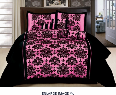 11 Piece Queen Coffee and Pink Flocked Bed in a Bag Set
