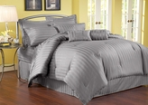 11 Piece Queen Damask Stripe 500 Thread Count Cotton Bed in a Bag Set Charcoal