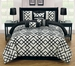 11 Piece Queen Esquire Flocked Black and Ivory Bed in a Bag Set
