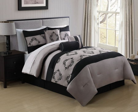 11 Piece Queen Gayle Embroidered Bed in a Bag Set