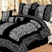 11 Piece Queen Giraffe/Zebra Black and White Micro Fur Bed in a Bag Set