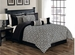 11 Piece Queen Gladstone Flocked Black and Ivory Bed in a Bag Set