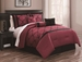 11 Piece Queen Gracie Burgundy and Black  Bed in a Bag w/600TC Cotton Sheet Set