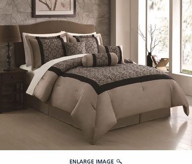 11 Piece Queen Hariette Black/Taupe Flocking Bed in a Bag Set