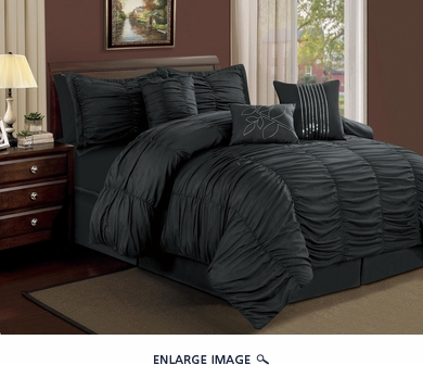 11 Piece Queen Hermosa Ruffled Bed in a Bag Set Black