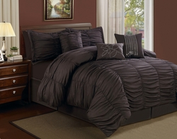 11 Piece Queen Hermosa Ruffled Bed in a Bag w/600TC Cotton Sheet Set Chocolate