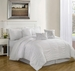 11 Piece Queen Hermosa Ruffled Bed in a Bag w/600TC Cotton Sheet Set White