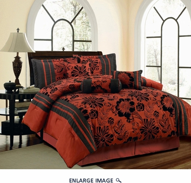 11 Piece Queen Jayda Burguandy and Black Bed in a Bag Set