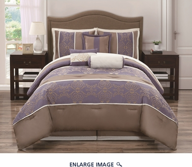 11 Piece Queen Katie Lavender and Taupe Bed in a Bag w/600TC Cotton Sheet Set