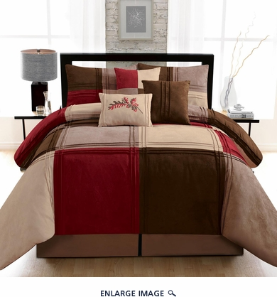 11 Piece Queen Kelsey Micro Suede Bed in a Bag w/600TC Cotton Sheet Set