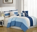 11 Piece Queen Kendal Blue Bed in a Bag w/500TC Cotton Sheet Set
