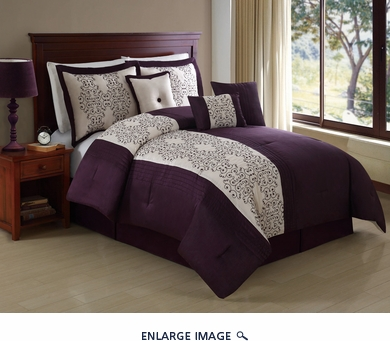 11 Piece Queen Lenore Purple Embroidered Bed in a Bag w/600TC Cotton Sheet Set